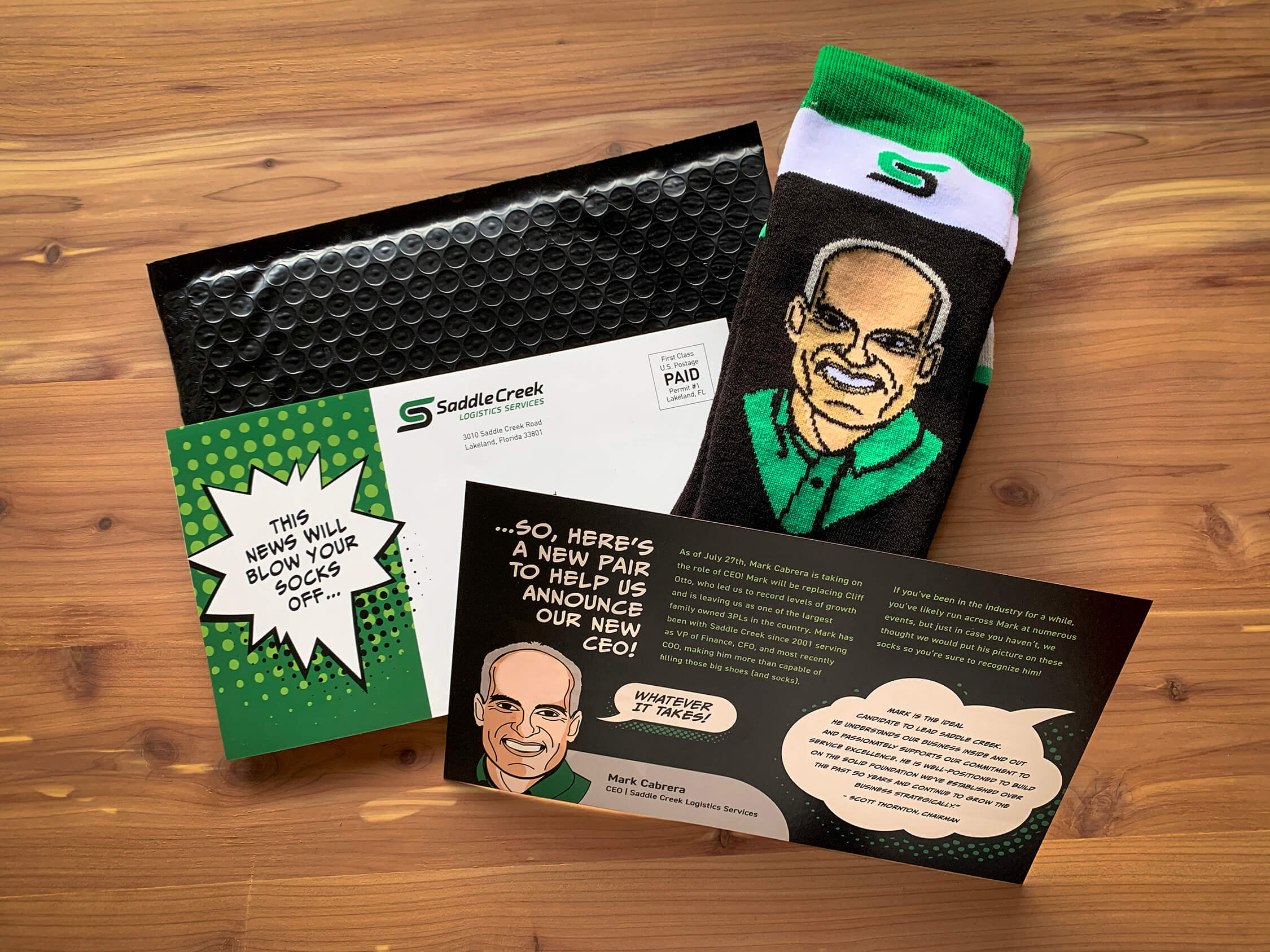 image of direct mail piece and custom socks